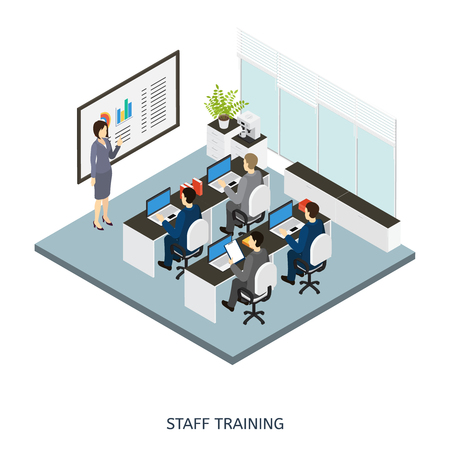 employers: Colored 3d style office cabinet isometric composition with employers on staff training illustration