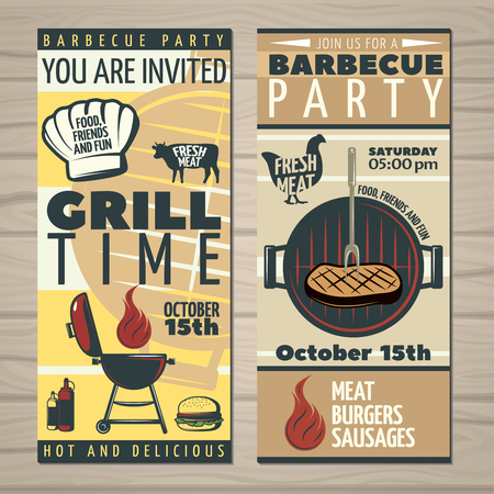 holiday invitation: Grill time barbecue party invitation leaflet with cooking symbols colorful with editable text and date illustration