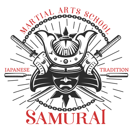 Decorative print of traditional japanese martial arts symbols with round composition of mask swords and nunchucks illustration