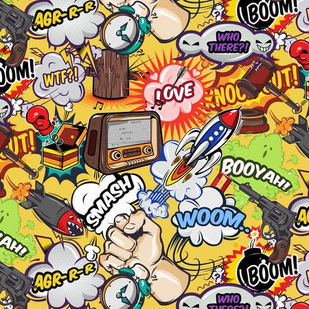 radio beams: Comics elements seamless pattern with speech bubbles radio weapon rocket and gavel on yellow background illustration Illustration