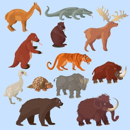 Ice age animals set with mammoth bear and deer bird tiger on blue background isolated illustration