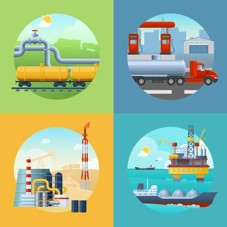 Square composition with oil industry symbols in circle shaped scenery and fuel transportation vehicles icons illustration