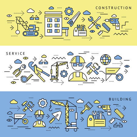 appropriate: Construction service and building editable horizontal banners set with appropriate technical tools and equipment isolated symbols  illustration