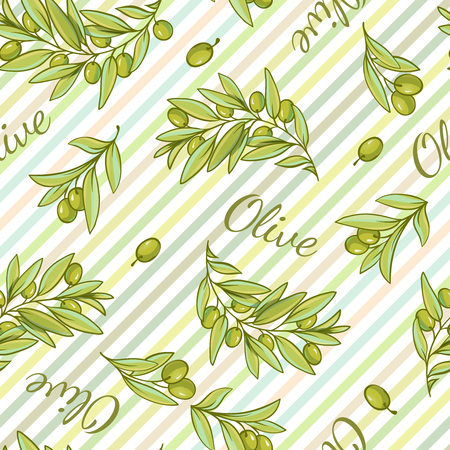 stripped background: Pattern with stripped background of pantone tones and drawn style olive branches and text flat illustration Illustration