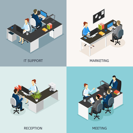 it support: Four square colored office isometric icon set with it support marketing reception meeting descriptions illustration