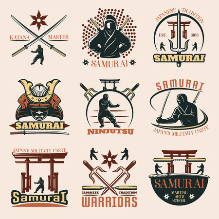 clan: Set of isolated samurai martial emblems with captions and images of weapons torii and warrior symbols illustration Illustration