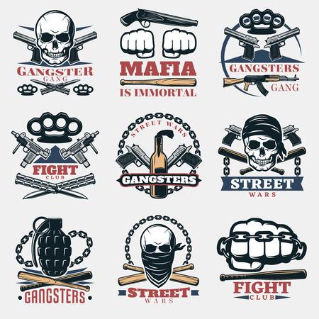 Vector Illustration Street Fighting Club Emblem With Skull Brass