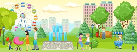 having fun: City park with people composition people walking and having fun in the park next to residential buildings illustration