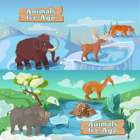 saber tooth: Beasts ice age horizontal including life of saber tooth tiger mammoth and deer isolated illustration Illustration