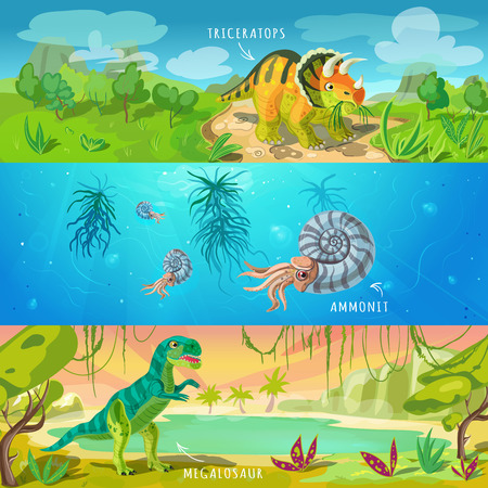 Animals jurassic banners set with triceratops ancient conch and tyrannosaurus on wildlife background isolated illustration