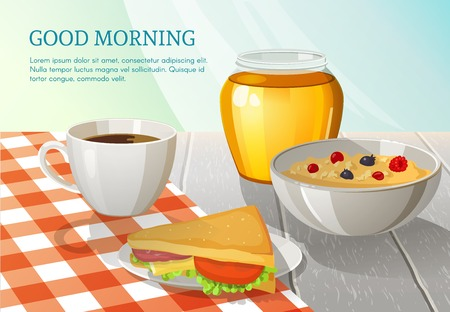 Colorful breakfast composition with coffee sandwich honey and oatmeal on white wooden table with checkered tablecloth illustration