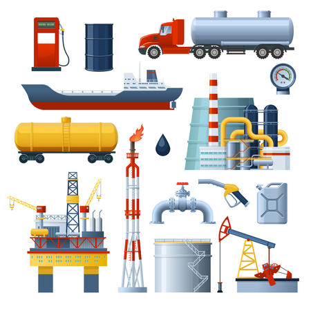 Oil industry isolated decorative icon set with transportation vehicles and factory module images on blank background illustration