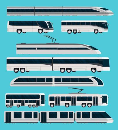 orthogonal: Public transport orthogonal icons set with automotive and railway vehicles on blue backdrop isolated illustration