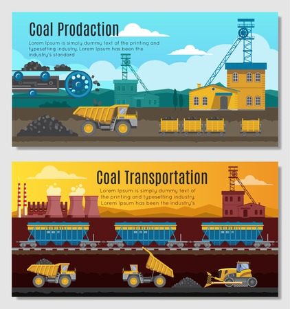 crawler tractor: Two mining industry horizontal banners set with coal extracting and transportation conceptual compositions with outdoor scenery  illustration Illustration