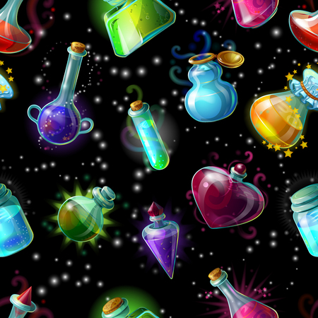 elixir: Magic bottles in an outer space pattern with colorful jars with liquid potions drops and stars illustration