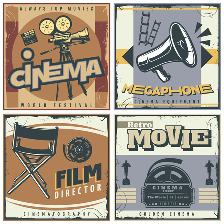 director's chair: Four squares composition in retro style with cinema movie making symbols film directors chair megaphone  illustration