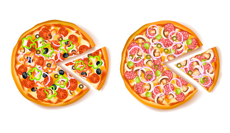 Pizza slice composition with two type of pizza and one small triangle piece cut off illustration Illustration