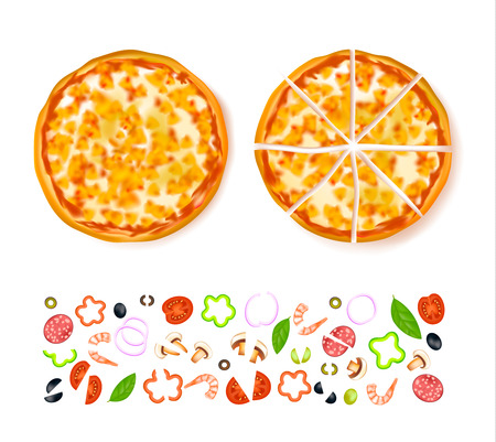 sliced: Sliced empty cheesy pizza composition with different isolated ingredients at the bottom illustration