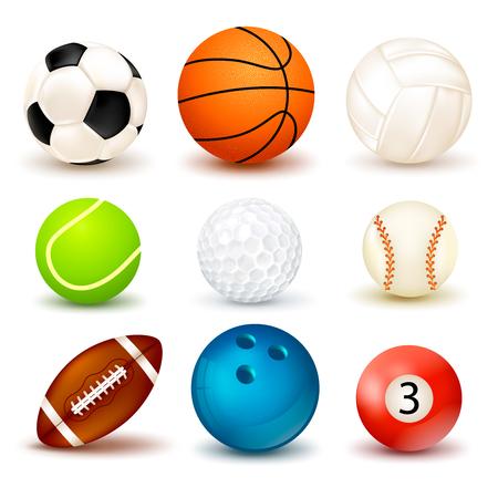 Kugelformikone der Form 3d stellte mit den Schatten ein, die auf dem Thema von verschiedenen Sportspielillustration lokalisiert wurden Vektorgrafik