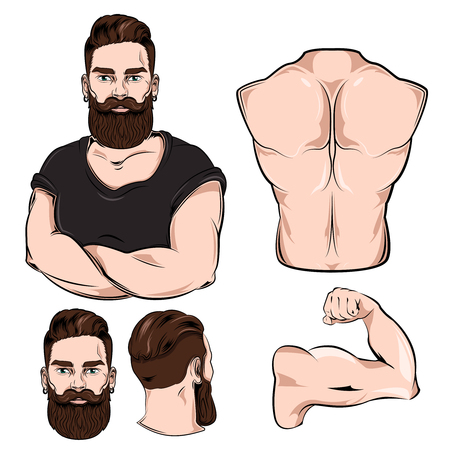 Male body parts for tattoo set with man portrait arm neck and back isolated illustration Illustration