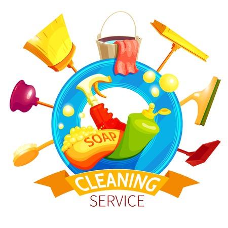 Composizione di affari di pulizia con gli attributi più puliti colorati e con l'illustrazione rossa del nastro Archivio Fotografico - 65348972