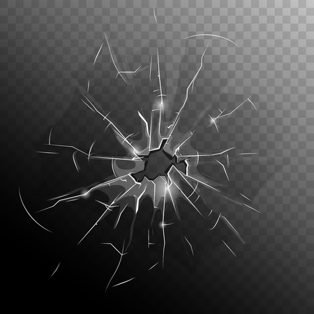 Broken window pane with hole cracks and scratches on half dark transparent background illustration Ilustração