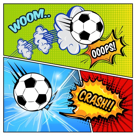 Broken window comics page with soccer ball bubbles and sound effects on pop art background illustration