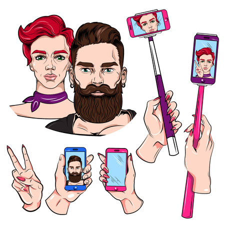 gesture set: Selfie sketches set with monopod man and woman smartphone in hand victory gesture isolated illustration