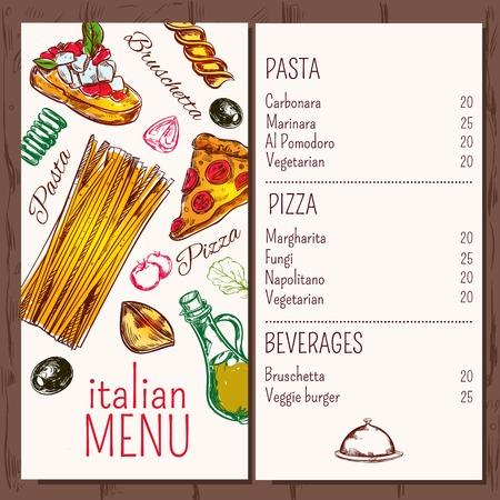 Italian menu pasta restaurant menu with decorative images of macaroni pizza olive and ripe vegetable icons illustration Vector Illustration
