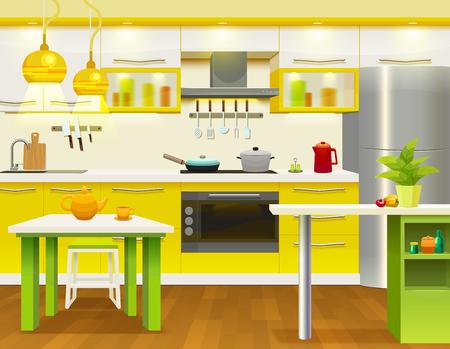 modern kitchen: Colored modern kitchen interior design with newly renovated necessary kitchen furniture and utensils illustration