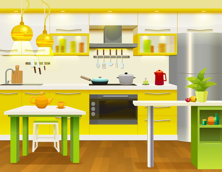 Beau Colored Modern Kitchen Interior Design With Newly Renovated Necessary  Kitchen Furniture And Utensils Illustration Stock Vector