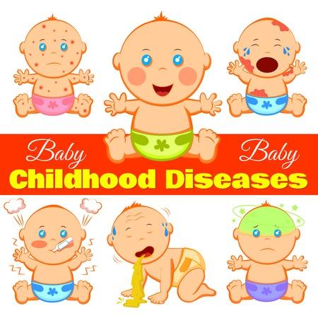 Baby kindertijd ziekten achtergrond met cartoon kinderen karakters die lijden aan verschillende ziekten en bewerkbare titel lijn illustratie