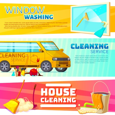 Three horizontal cleaning service banner set with window washing cleaning service and house cleaning headlines illustration Illustration