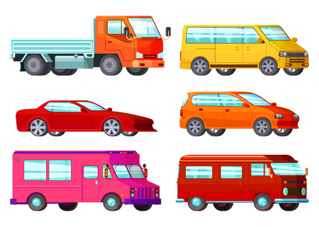 Colored and isolated orthogonal car set with different types of cars and their purpose illustration