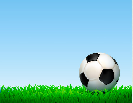 footy: Football ball composition with soccer ball lying on the grass on the football field illustration Illustration