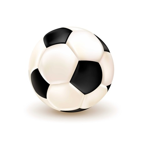 footy: Isolated realistic 3d football ball on the white background with shadows and lights illustration Illustration