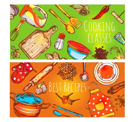 Two horizontal cooking class banners set with cartoon utensil decorative symbols tile with text colorful background  illustration Illustration