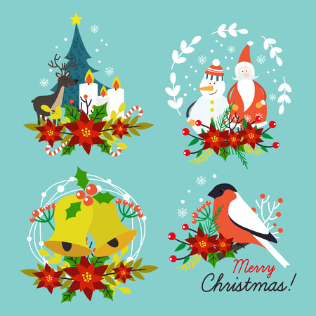 hand bells: Christmas hand drawn compositions with santa claus animals bells red flowers on blue background isolated illustration