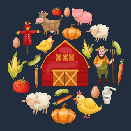 Round composition with a circle of isolated cartoon farm symbols warehouse vegetables animals on dark background illustration