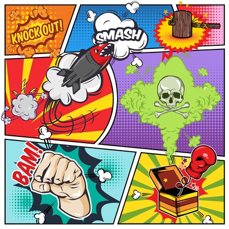 Comics book page including sound effects fist boxing glove and skull on split lines background illustration