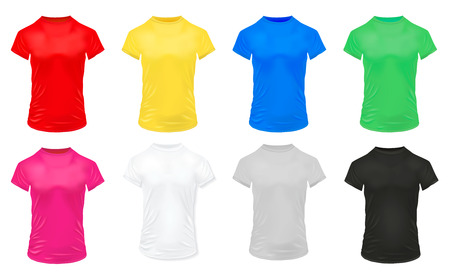 Realistic colorful sports shirts icon set for men isolated and in bright colors illustration