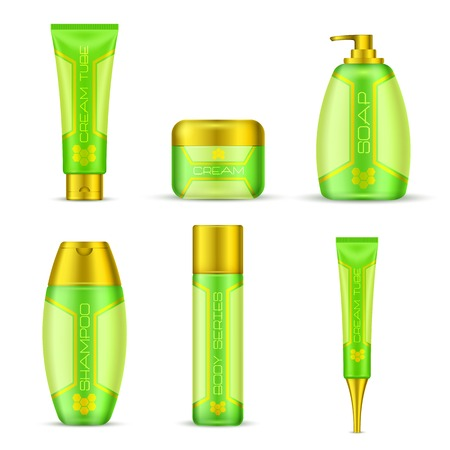 dispenser: Cosmetic packaging set in green yellow colors with golden lids 3d design isolated illustration