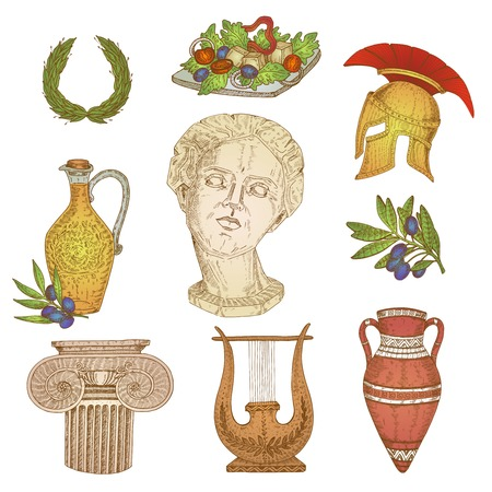 Isolated colorful hand drawn greek elements with decorative images of ancient items jars amphora olive branch illustration