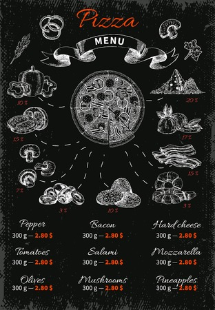 filler: Hand drawn pizza infographics menu with filler ingredients isolated symbols captions and prices on black background illustration Illustration