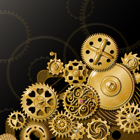 Composition with iron mechanism and golden circle gears of different size and decoration dark background illustration