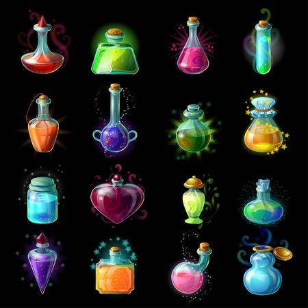 Zestien geïsoleerde kleurrijke magische fles potten set met vloeibare toverdranken voor transformaties op een zwarte achtergrond vector illustratie Stock Illustratie