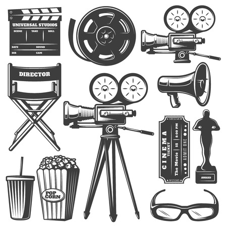 Isolated black and white drawn cinema elements including camera filmstrip megaphone and popcorn on blank background vector illustration