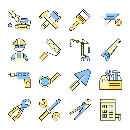 technics: Sixteen isolated construction colorful icons set with flat symbols of technics and professional building equipment illustration