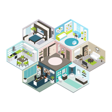 Colored isometric house on different floors composition with isolated rooms and walls illustration Illustration