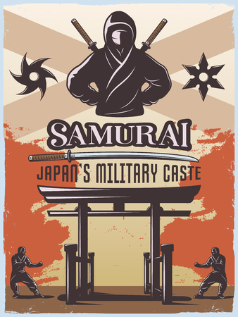 Samurai japan military style poster with warrior sword shuriken symbols torii gate and editable text flat illustration